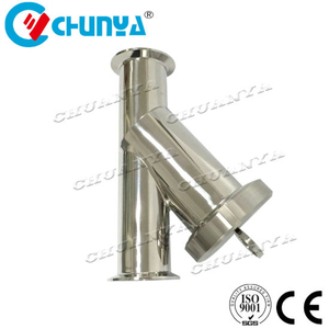 High Quality Valve Sanitary Y-Type Stainless Steel Polished Water Filter Housing